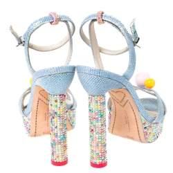 Sophia Webster Blue Glitter Fabric Loren Dreamy Crystal Embellished Platform Sandals Size 37.5