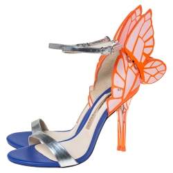 Sophia Webster Multicolor Silver Leather Chiara Butterfly Ankle Strap Sandals Size 36