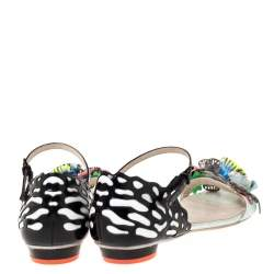Sophia Webster Multicolor Patent And Leather Lilico Underwater Floral Embellished Flat Sandals Size 40