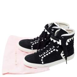 Sophia Webster Monochrome Suede and Leather Riko High Top Sneakers Size 39.5