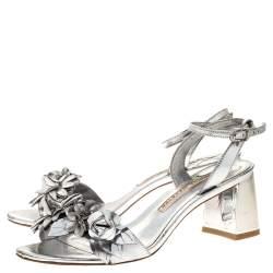Sophia Webster Sliver Leather Floral Embellished Lilico Ankle Strap Sandals Size 37