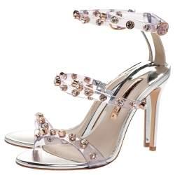Sophia Webster Sliver Leather And PVC Crystal Embellished Ankle Strap Sandals Size 37