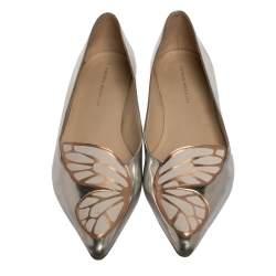 Sophia Webster Silver Leather Bibi Butterfly Ballet Flats Size 39