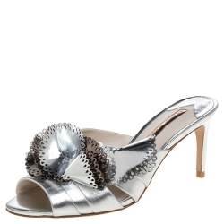 Sophia Webster Metallic Silver Laser Cut Leather Soleil Mules Size 36