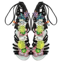 Sophia Webster Multicolor Patent Leather and Suede Lilico Underwater Ankle Wrap Sandals Size 35.5