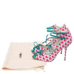 Sophia Webster Pink/Multicolor Nylon And Leather Heart Print Sandals Size 37.5