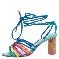 Sophia Webster Multicolor Leather Cord Copacabana Cork Heel Ankle Wrap Sandals Size 36.5