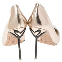 Sophia Webster Metallic Rose Gold Leather Coco Flamingo Pointed Toe Pumps Size 40