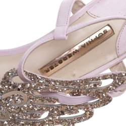 Sophia Webster Pink Glitter Leather Seraphina Angel Wing Flats Size 36.5