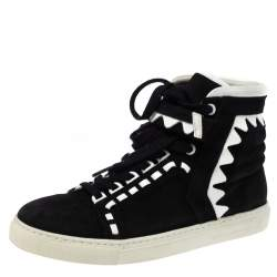Sophia Webster Monochrome Suede and Patent Leather Riko High Top Sneakers Size 38.5