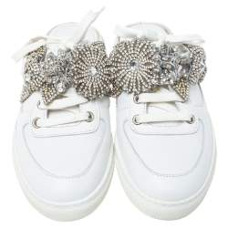 Sophia Webster White Leather Flower Embellished Lilico Jessie Mule Sneakers Size 36.5