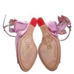 Sophia Webster Metallic Pink Foil Leather Embellished Bow Ankle Strap Wedge Sandals Size 39
