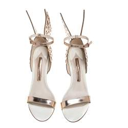 Sophia Webster Metallic Rose Gold/White Leather Chiara Butterfly Ankle Cuff Sandals Size 36