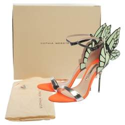 Sophia Webster Multicolor Patent Leather Chiara Butterfly Ankle Cuff Sandals Size 37