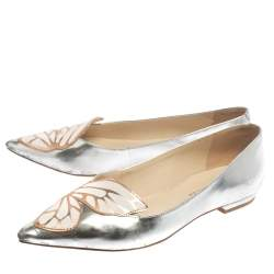 Sophia Webster Metallic Silver/Rose Gold Leather Bibi Butterfly Pointed Toe Ballet Flats Size 37.5
