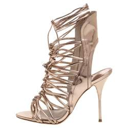Sophia Webster Metallic Rose Gold Leather Cage Ankle Wrap Sandals Size 39