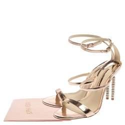 Sophia Webster Rose Gold Leather Rosalind Crystal Heel  Sandals Size 39