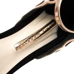 Sophia Webster Black/Rose Gold Suede and Leather Evangeline Open Toe Sandals Size 39