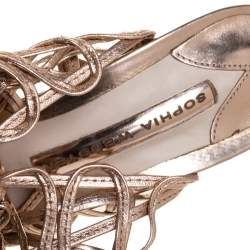 Sophia Webster Metallic Rose Gold Leather Delphine Peep Toe Cage Sandals Size 36