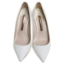 Sophia Webster White Leather Coco Crystal Embellished Heel Pointed Toe Pumps Size 36