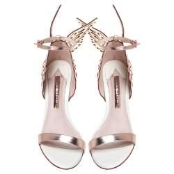 Sophia Webster Rose Gold/White Leather Evangeline Laser Cut Angel Wing Ankle Strap Sandals Size 38.5