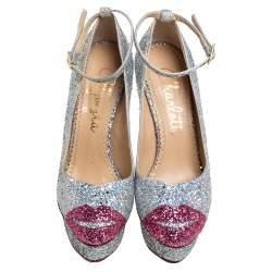 Sophia Webster Multicolor Glitter Kiss Me Dolores! Ankle Strap Platform Pumps Size 38.5