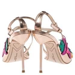 Sophia Webster Rose Gold Foil Leather Hula Floral Embellished Crisscross Sandals Size 38