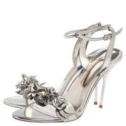 Sophia Webster Silver Foil Leather Lilico Floral Embellished Ankle Wrap Sandals Size 41