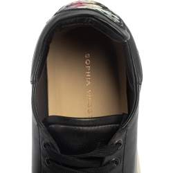 Sophia Webster Black Leather Bibi Butterfly Low Top Sneakers Size 39.5