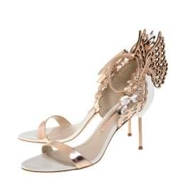 Sophia Webster Rose Gold/White Leather Evangeline Laser Cut Angel Wing Ankle Strap Sandals Size 39.5