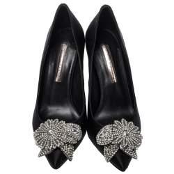 Sophia Webster Black Satin Lilico Crystal Embellished Pumps Size 38.5
