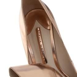 Sophia Webster Metallic Rose Gold Leather Crystal Embellished Heel Coco Pumps Size 40