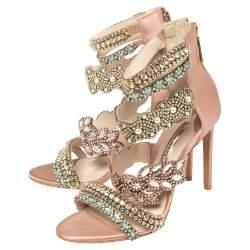 Sophia Webster Beige Embellished Suede And Satin Eden Strappy Sandals Size 39.5