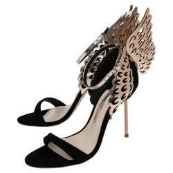 Sophia Webster Black/Rose Gold Suede and Leather Evangeline Ankle Strap Sandals Size 37.5