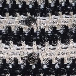 St. John Monochrome Textured Knit Button Front Blazer S