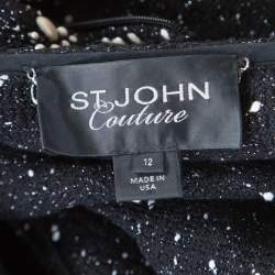 St. John Couture Black Tweed Faux Pearl Studded Ruffle Front Jacket L