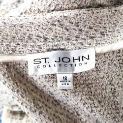 St. John Cream Knit Shoulder Padded Button Front Jacket L