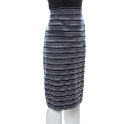 St. John Collection by Marie Gray Navy Blue Striped Knit Skirt XL