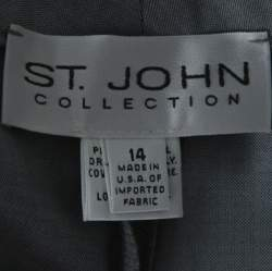 St. John Grey Wool Blend Straight Fit Trousers XL