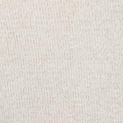 St. John Beige Knit Embellished Crochet Back Detail French Sleeve Top L