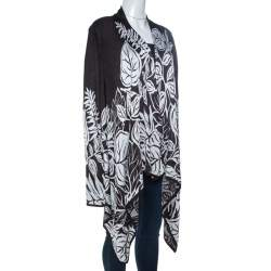 St. John Monochrome Jacquard Knit Draped Cardigan XL
