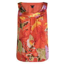St. John Orange Floral Printed Silk Sleeveless Top M