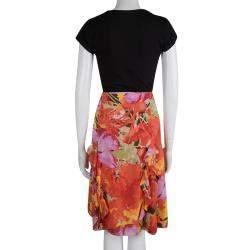 St. John Orange Floral Printed Silk Ruffle Detail Skirt XL