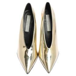 Stella McCartney Holographic Gold Faux Glossy Leather V Neck Pointed Toe Pumps Size 40.5