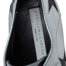 Stella McCartney Silver/Black Faux Leather And  Elyse Star Platform Derby Size 41