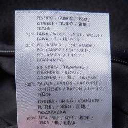 Stella McCartney Black Wool Embroiderd Faces Long Sleeve Melton Shift Dress S