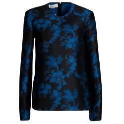 Stella McCartney FW'16 Black and Blue Floral Jacquard Long Sleeve Top M