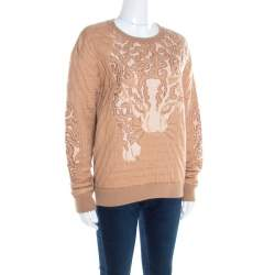 Stella McCartney Beige Metallic Wildcat Pattern Jacquard Sweatshirt L
