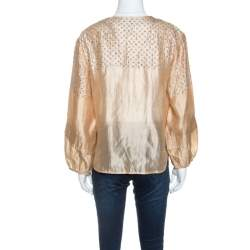 Stella McCartney Beige Silk Sequin Detail Balloon Sleeve Blouse S