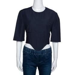 Stella McCartney Navy Blue Linen Blend Corset Top M
